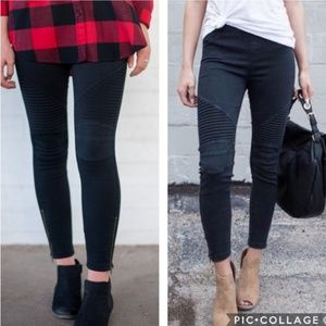 Pants - Black Moto Leggings with Ankle Zipper